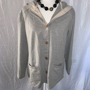 Susan Graver size small button up hooded sweater
